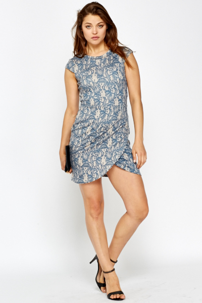 Overlay Hem Lace Print Dress