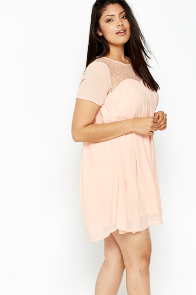 Pink Contrast Yoke Swing Dress