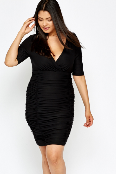0e45f34a1b7 Plunge Neck Black Ruched Dress - Just £5