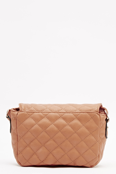 Camel Quilted Crossbody Bag
