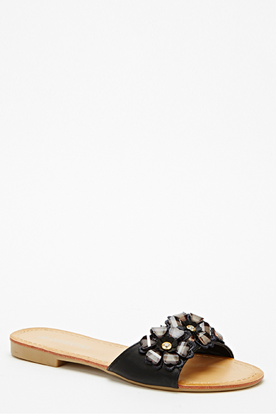 Encrusted Flower Slip On Flats
