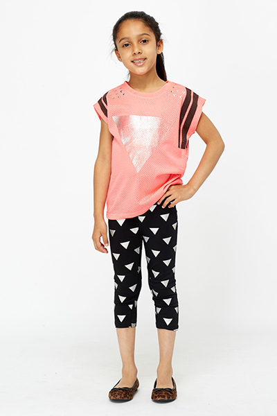 Geo Print Top And Leggings Set