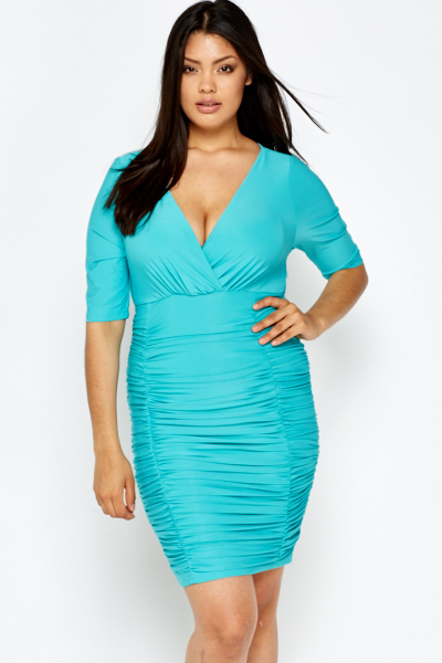 Mint Plunge Neck Ruched Dress