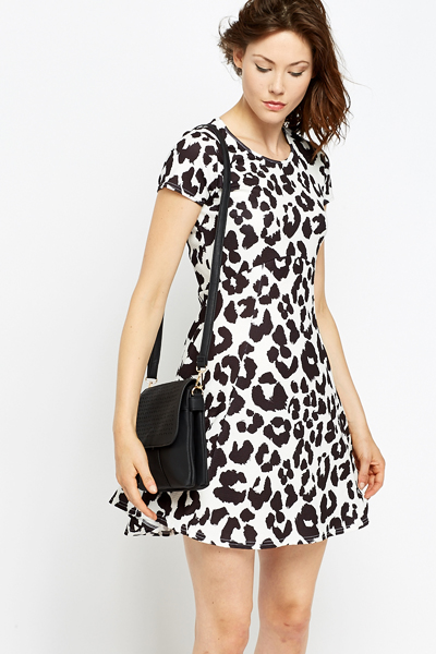 White Contrast Leopard Print Dress
