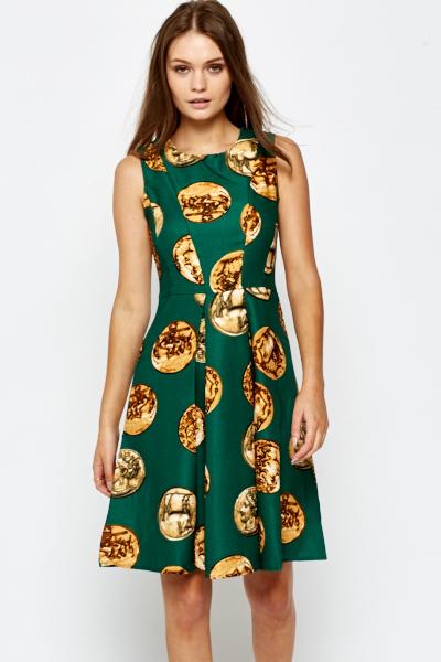 Green Coin Print Skater Dress - Just £5