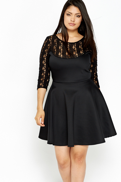 2019 year for lady- Lace Black skater dress plus size pictures