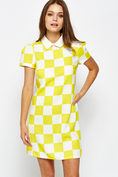 Yellow Check Shift Dress