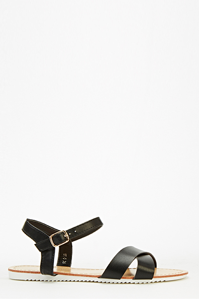 888213c4dbf2 Black Cross Over Strap Sandals - Just £5