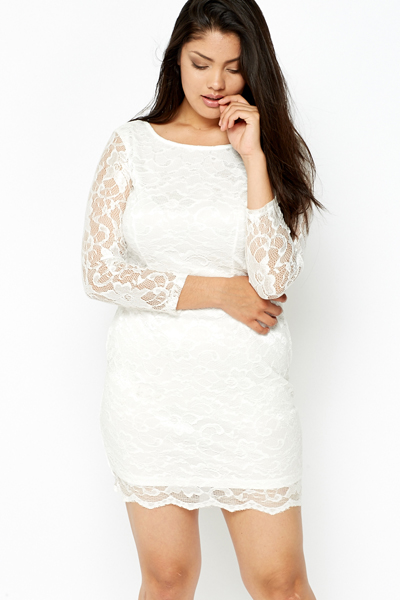 Bodycon White Overlay Lace Dress