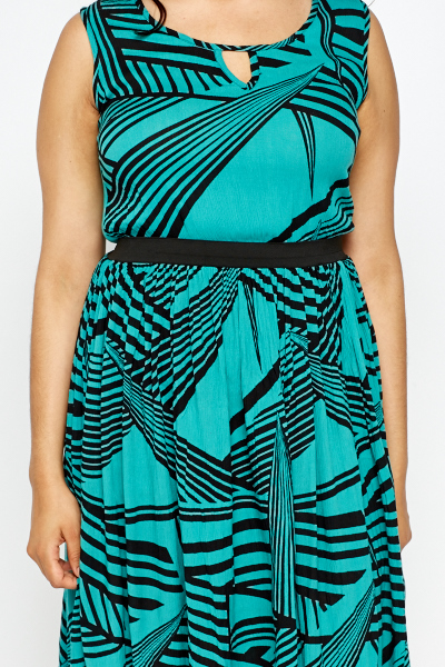 Midi Turquoise Striped Dress