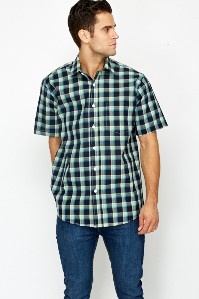 Short Sleeve Checked Contrast Shirt