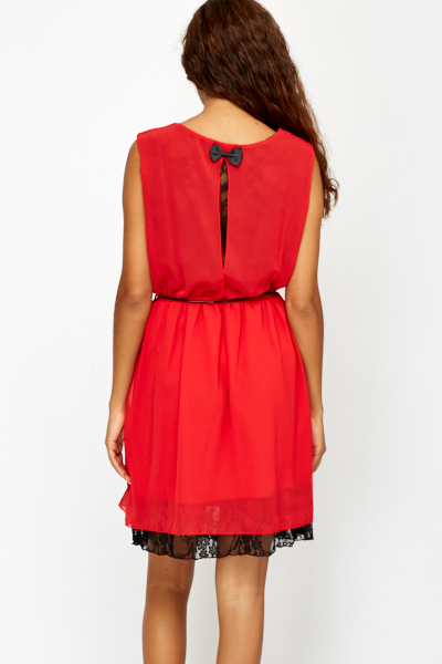 Red Lace Trim Skater Dress