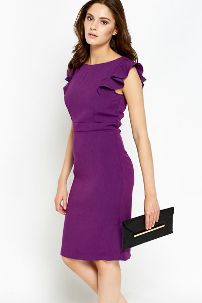Frill Cap Sleeve Formal Dress