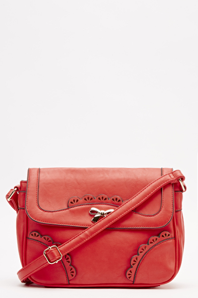 Red Laser Cut Crossbody Bag