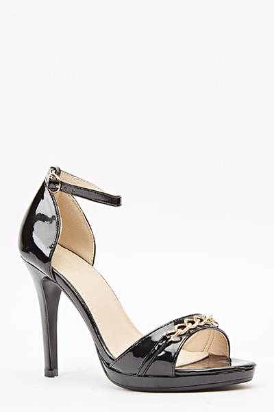 Chain Strap Patent Heels