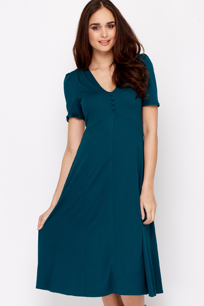 Dark Turquoise A-Line Buttoned Dress
