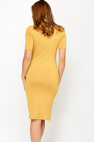 Mustard Jersey Bodycon Dress