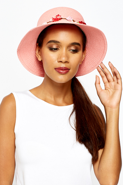 Floral Trim Straw Sun Hat