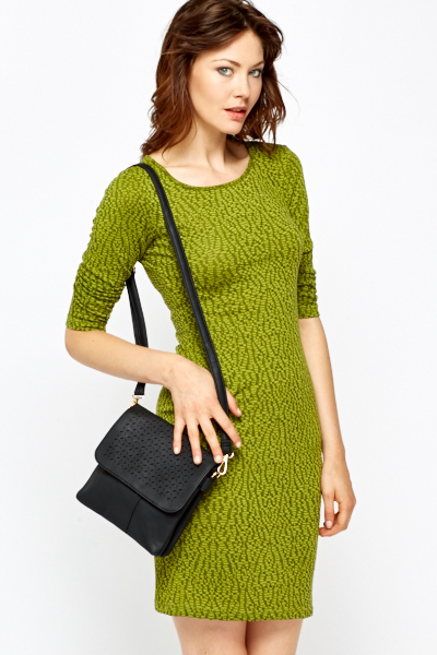 Olive Jacquard Bodycon Dress