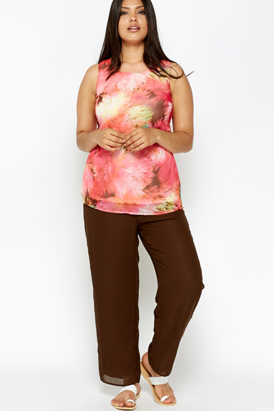 Tropical Print Top And Trouser Set