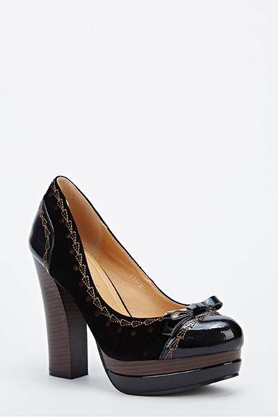 Block Heel Contrast Trim Heels