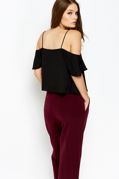 Drop Shoulder Black Top