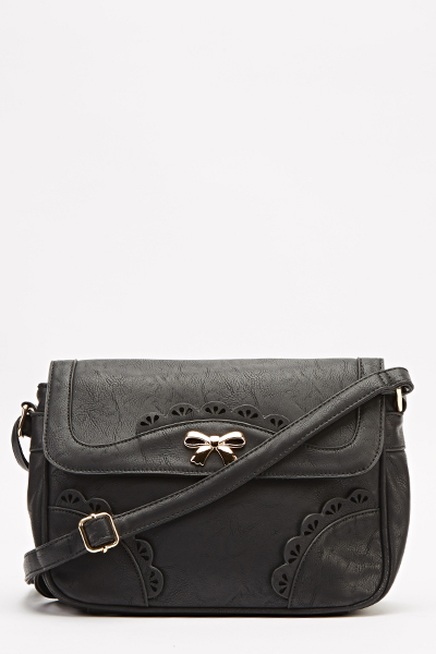 Black Laser Cut Crossbody Bag