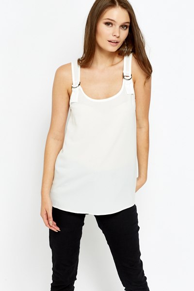 Buckle Strap White Shell Top