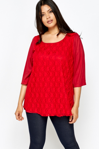 Front Lace Overlay Red Top