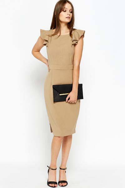 f4a7e8d9f2af Khaki Frill Sleeve Midi Dress - Just £5