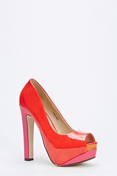 0de58a6ce9e9 Patent PVC Open Toe Platform Heels - Just £5