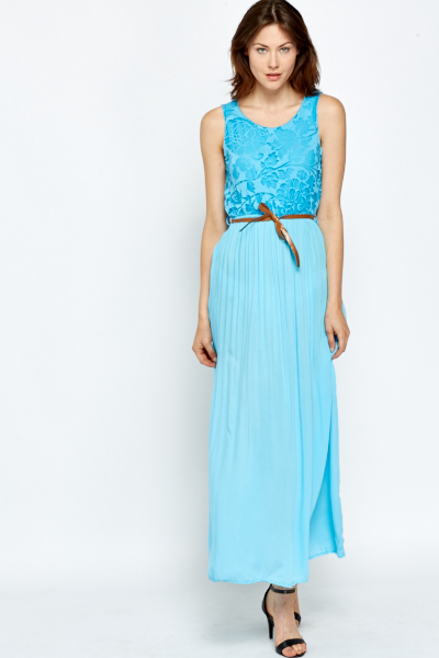 Blue Sheer Back Maxi Dress