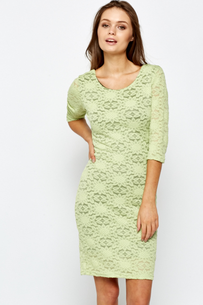 Green Lace Overlay Bodycon Dress