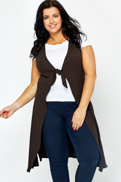 Knot Front Sleeveless Dark Brown Cardigan - Just £5