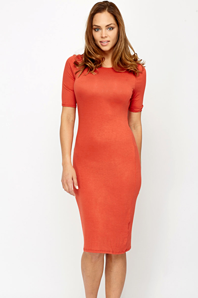 Brick Jersey Bodycon Dress