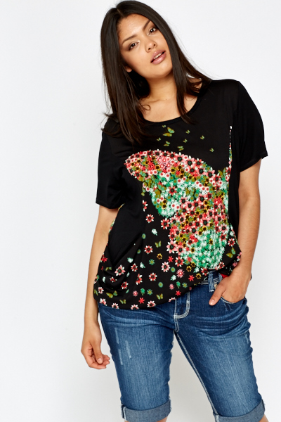Floral Butterfly Black Top
