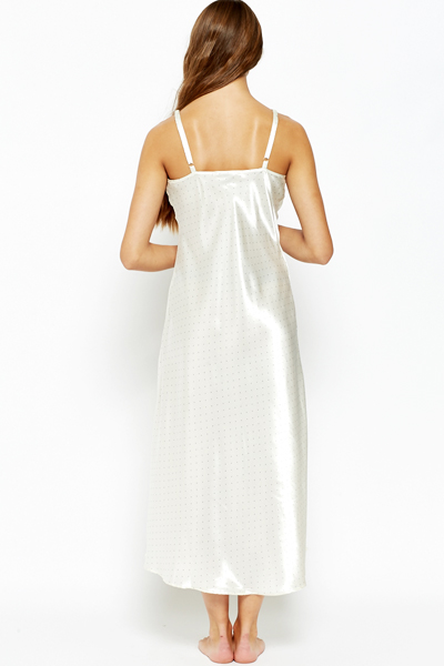 Off White Polka Dot Night Gown
