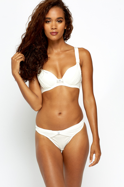 Ruched Diamante Bra And Thong Set