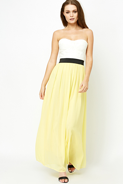 Yellow Contrast Bandeau Dress