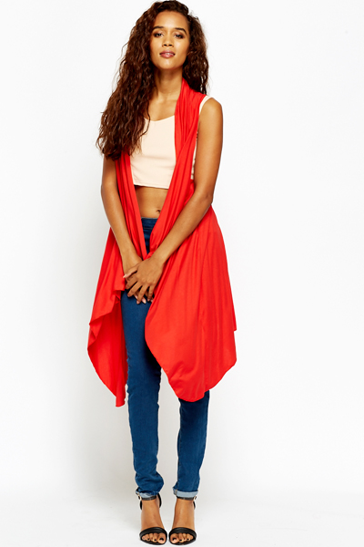Red Casual Waterfall Cardigan - Just £5