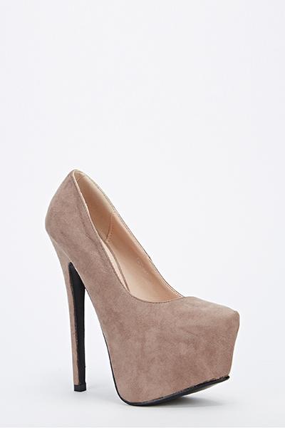Suedette Platform High Heels - Just £5