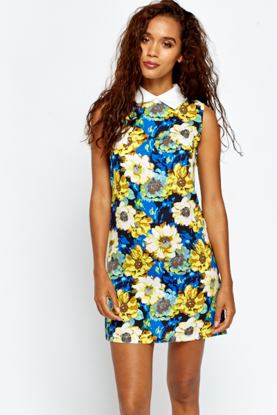 Floral Collared Shift Dress