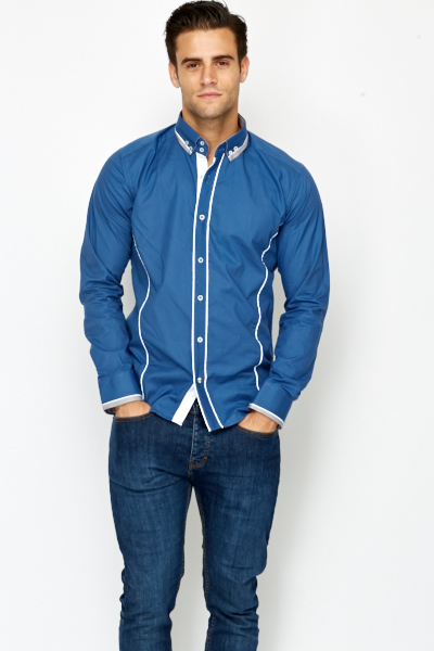 Navy Button Down Panelled Shirt