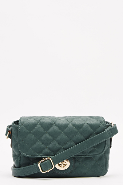 Turquoise Quilted Crossbody Bag