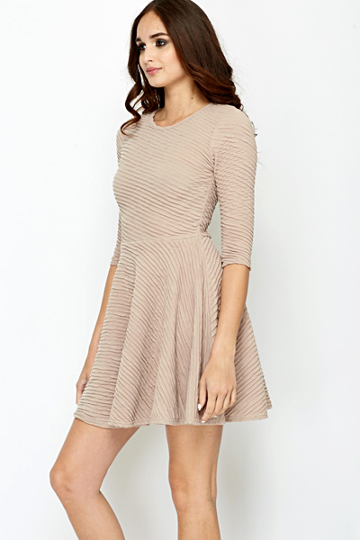 Beige Ribbed Swing Dress