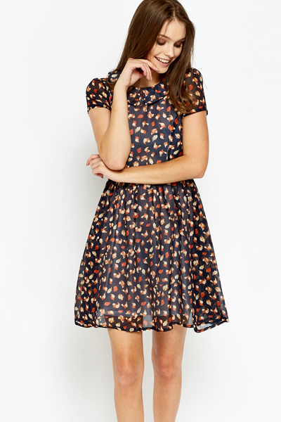 Mix Print Overlay Skater Dress