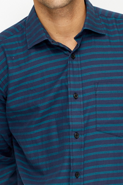 Cotton Turquoise Striped Shirt