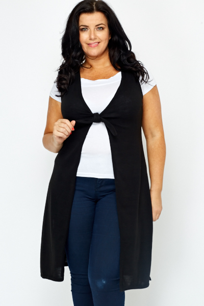 7374a9f11c36 Knot Front Black Sleeveless Cardigan - Just £5