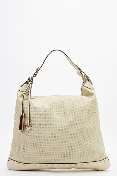 Studded Panel Slouch Bag