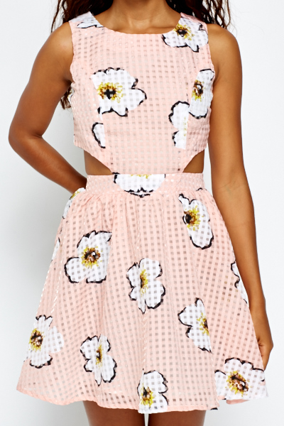 Cut Out Side Floral Skater Dress